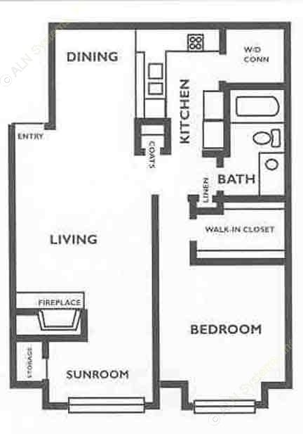 830 sq. ft. A3S floor plan