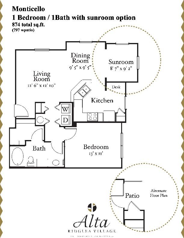 797 sq. ft. Monticello floor plan