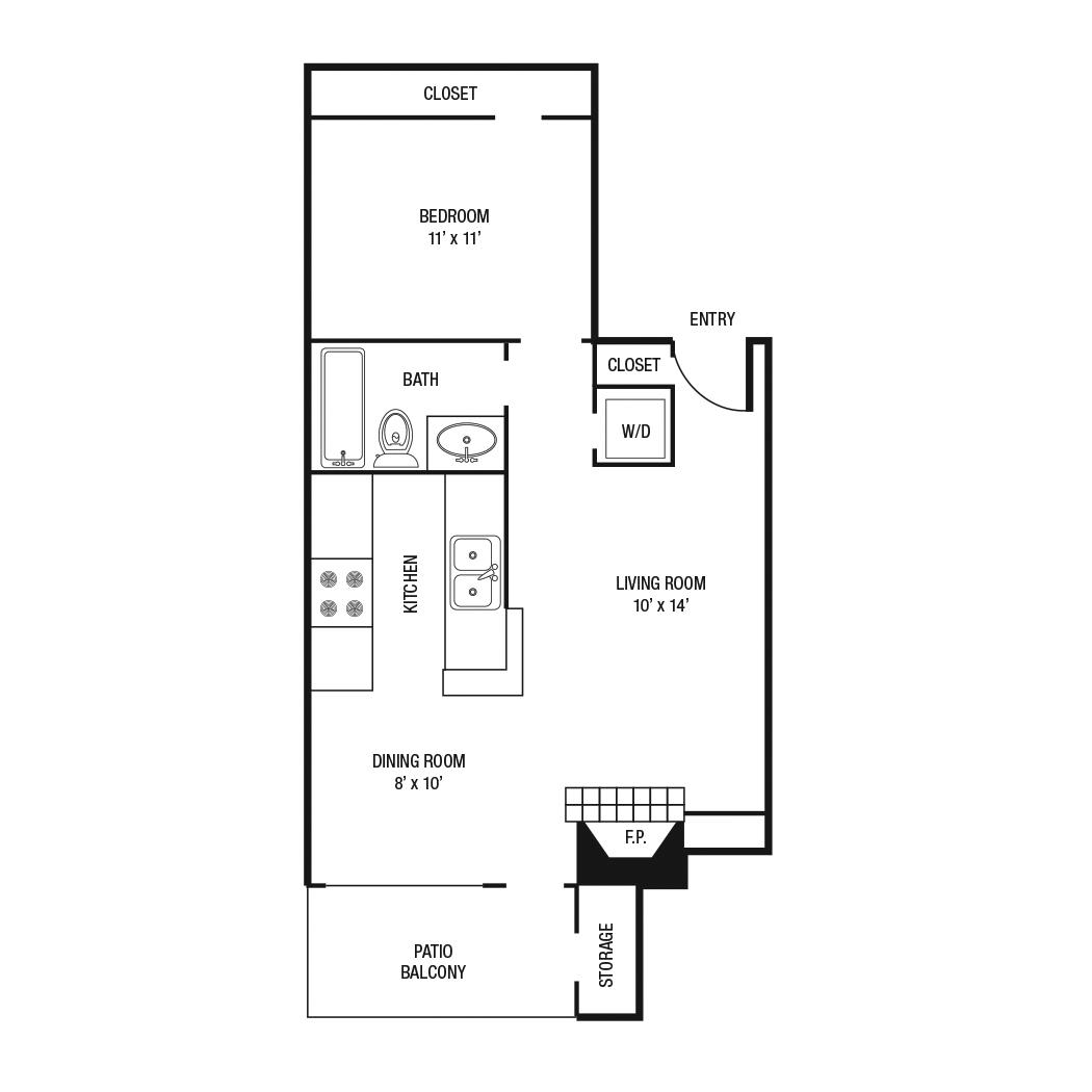 610 sq. ft. A-1 floor plan