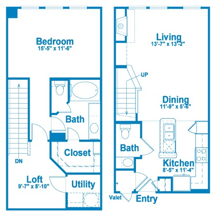 992 sq. ft. L1 floor plan