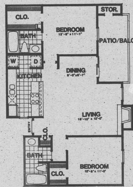 975 sq. ft. B2 floor plan