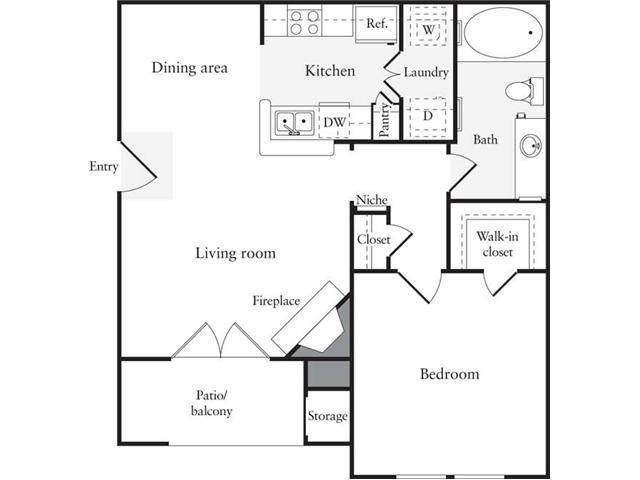 649 sq. ft. A2 floor plan