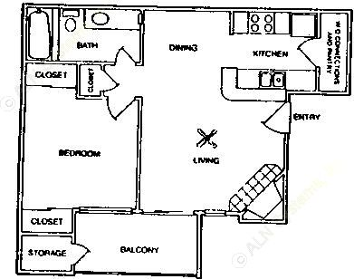 595 sq. ft. A1/60% floor plan