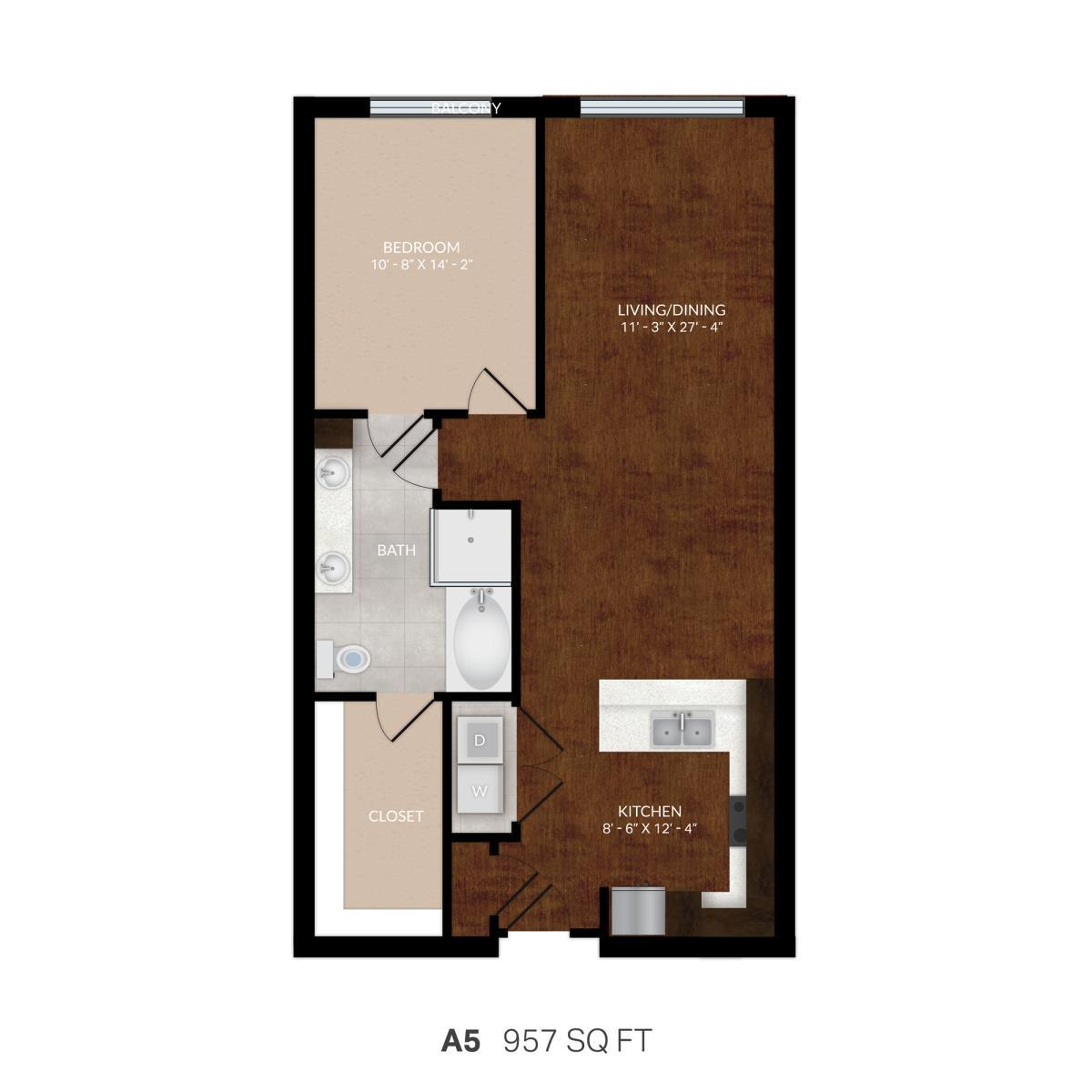 957 sq. ft. A5 floor plan
