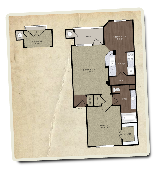 734 sq. ft. Omni floor plan