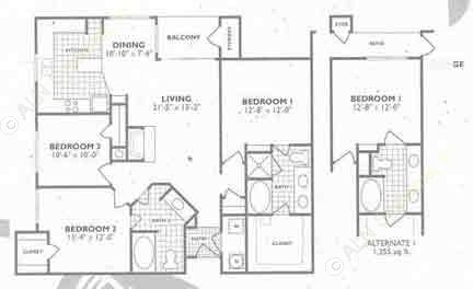 1,355 sq. ft. C1 3x2 floor plan