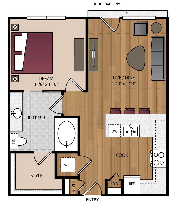 705 sq. ft. A1.1 floor plan