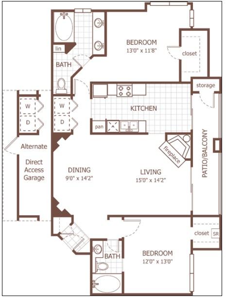 1,211 sq. ft. Finsbury floor plan