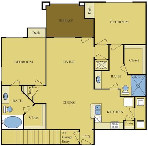 1,101 sq. ft. Magnolia/Garage floor plan