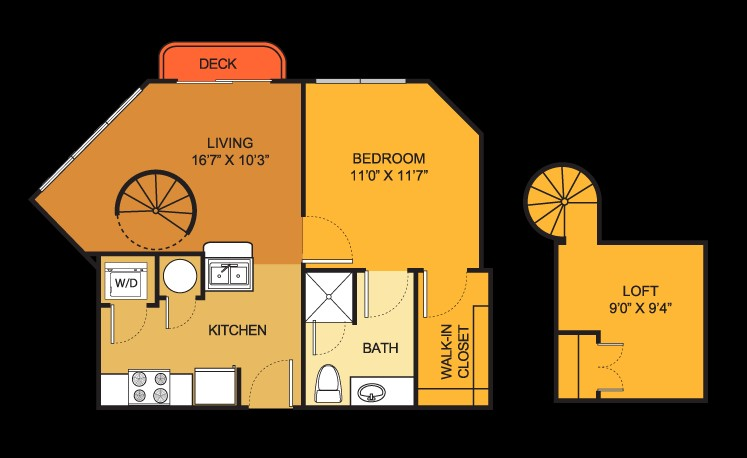 590 sq. ft. A1LOFT floor plan