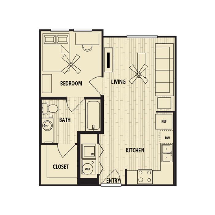 538 sq. ft. A1 floor plan