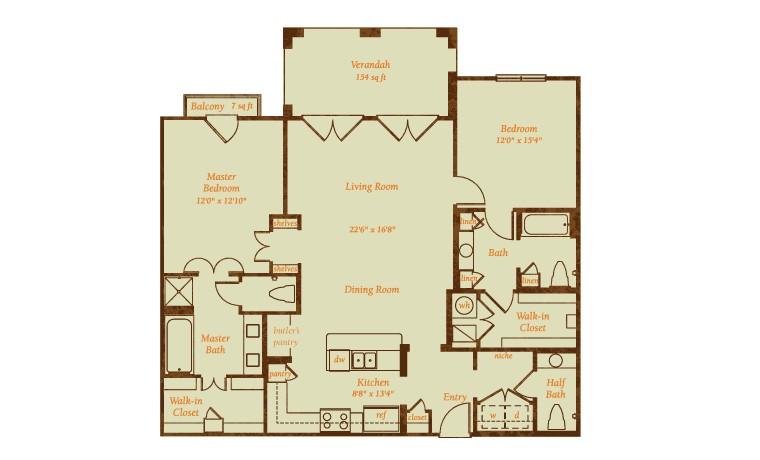 1,556 sq. ft. Miraval floor plan