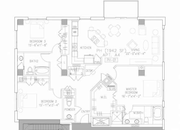 1,942 sq. ft. PH1 floor plan
