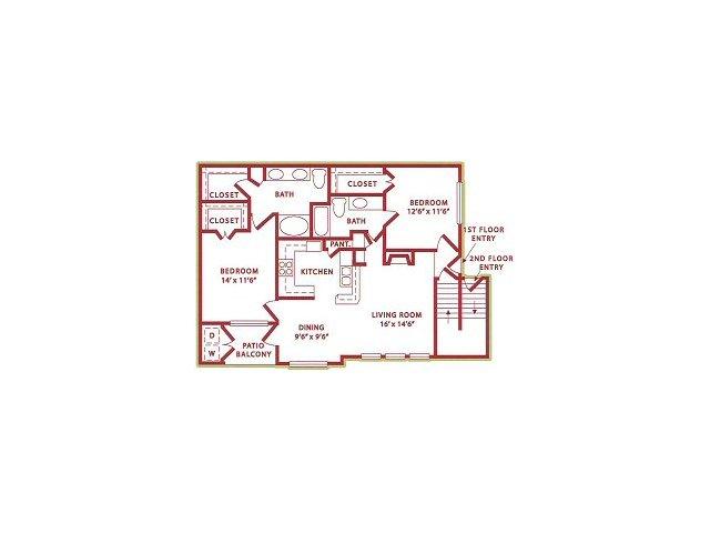 1,100 sq. ft. (B2) Autumn floor plan