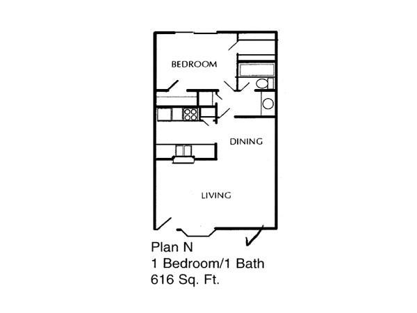 616 sq. ft. to 675 sq. ft. N/P floor plan