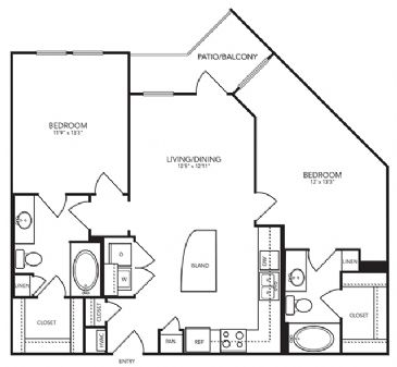 1,018 sq. ft. B1 floor plan