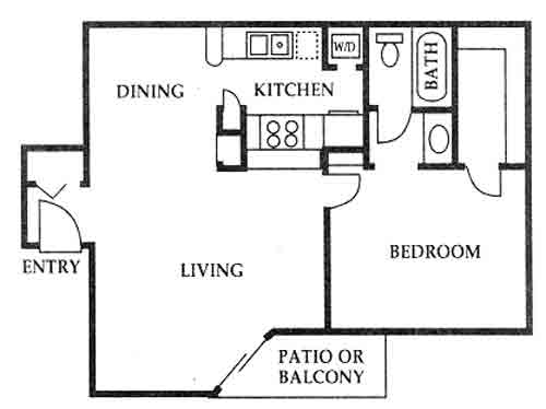 640 sq. ft. C floor plan