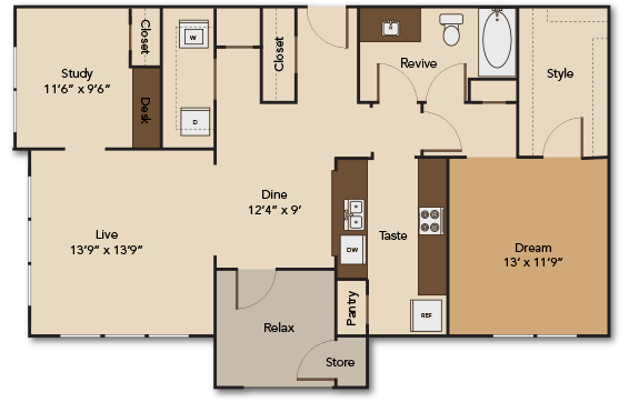 1,066 sq. ft. A7 floor plan