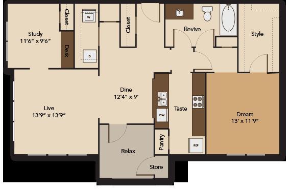 1,066 sq. ft. GARDEN A4 floor plan