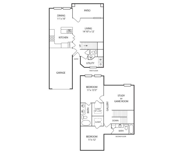 1,400 sq. ft. Elm floor plan
