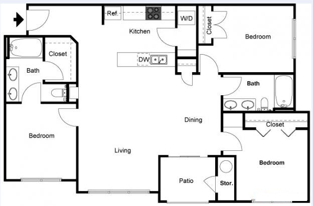 1,220 sq. ft. Yaupon floor plan