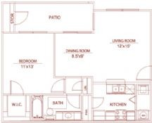 723 sq. ft. A3 whitsand floor plan