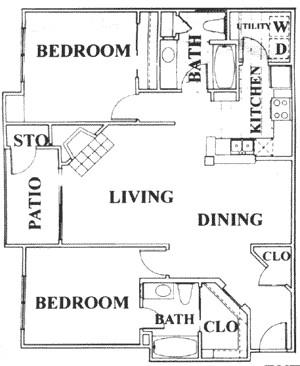 1,115 sq. ft. E floor plan