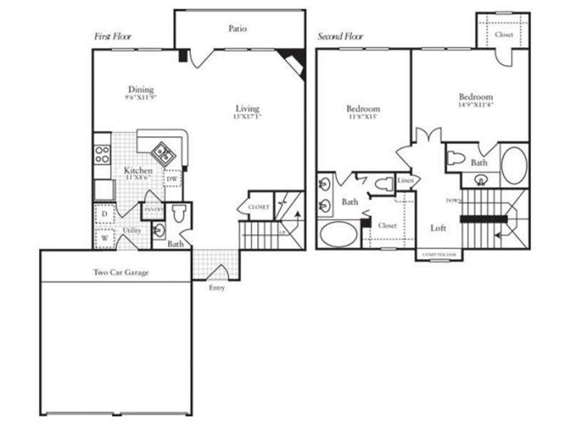 1,378 sq. ft. TH3 floor plan