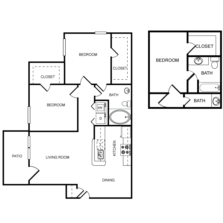 952 sq. ft. D floor plan