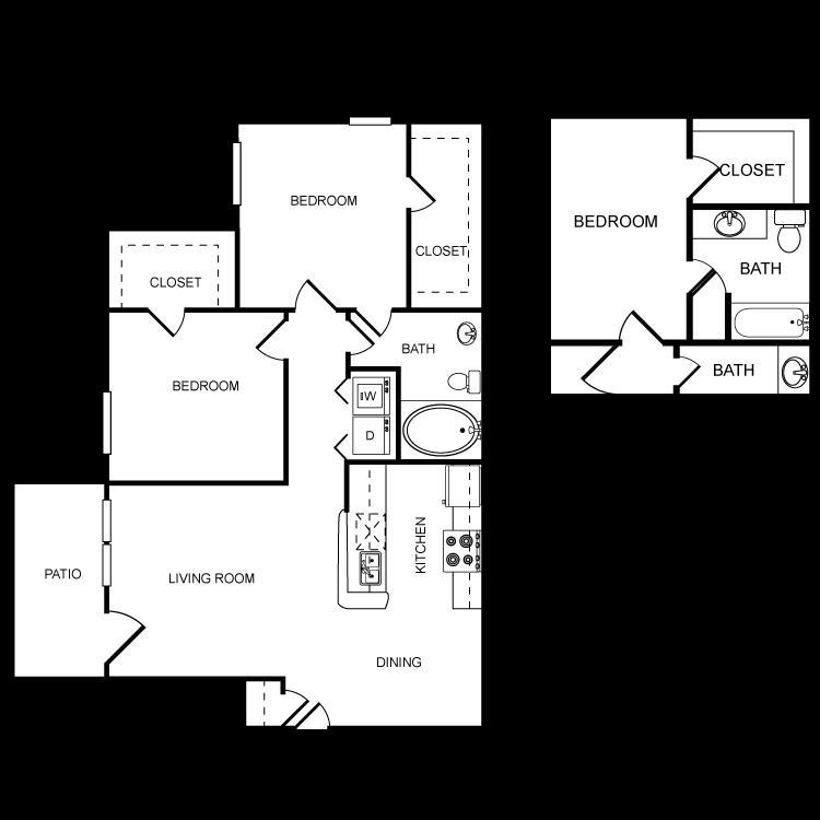 952 sq. ft. D floor plan