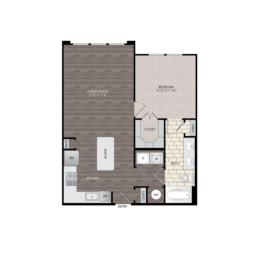 784 sq. ft. A2A floor plan