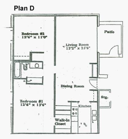 873 sq. ft. D floor plan