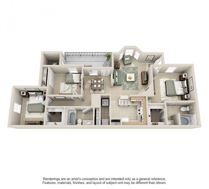 1,162 sq. ft. Pine floor plan