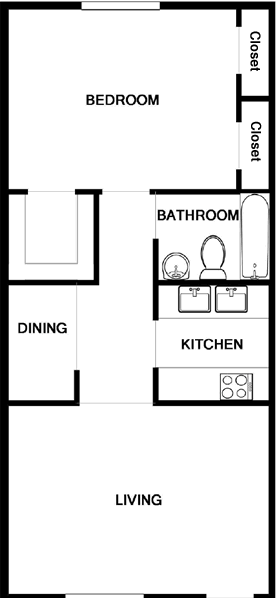 666 sq. ft. A1 floor plan
