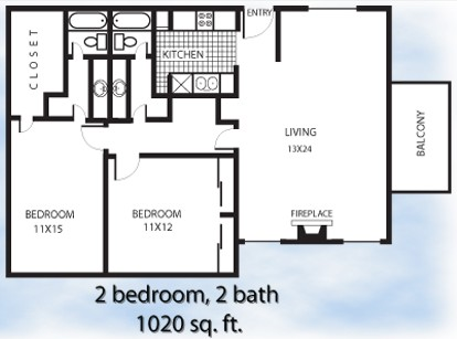 1,020 sq. ft. 2-2L floor plan