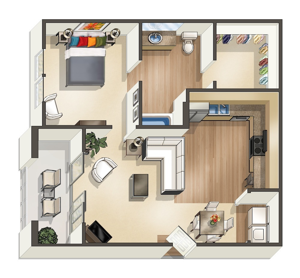 660 sq. ft. Leilani floor plan