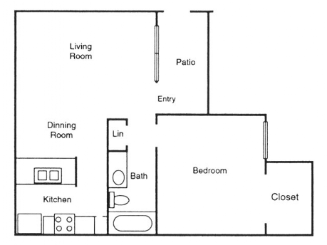 630 sq. ft. Pecan floor plan