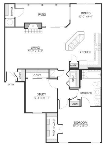 1,077 sq. ft. A6fp floor plan