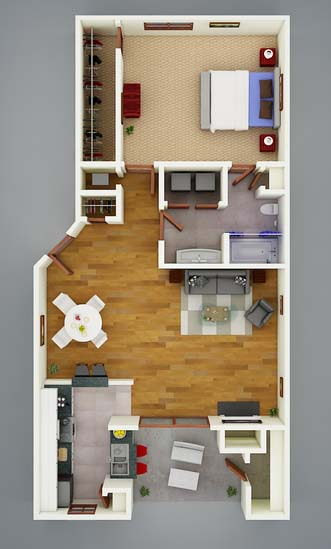 787 sq. ft. A3 Bamboo floor plan