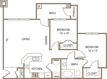912 sq. ft. Windsor floor plan