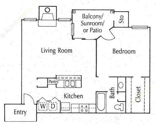 684 sq. ft. 11B floor plan
