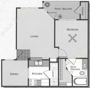 642 sq. ft. Comal/A1 floor plan