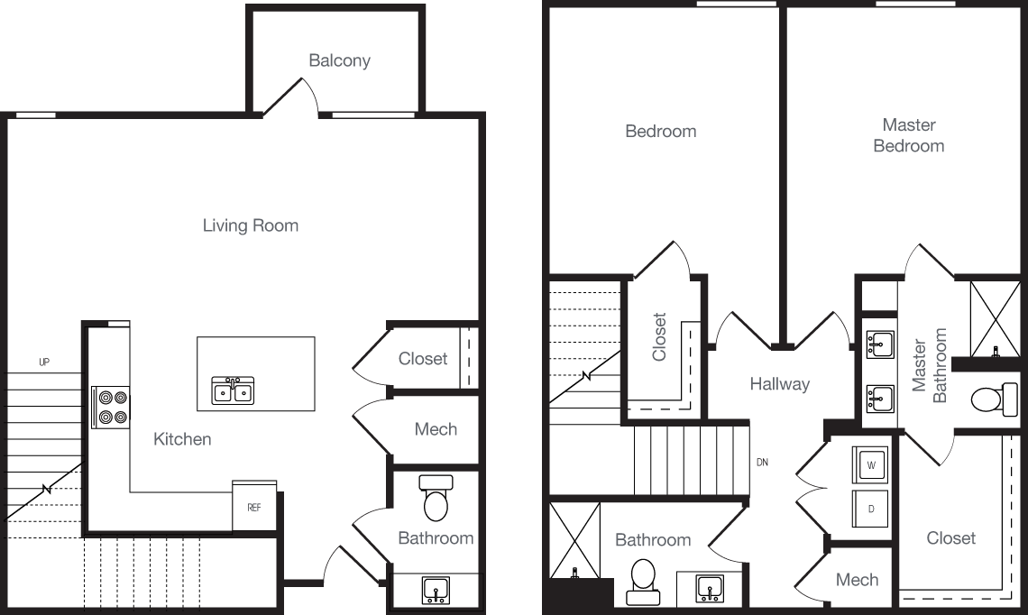 1,308 sq. ft. 2L floor plan