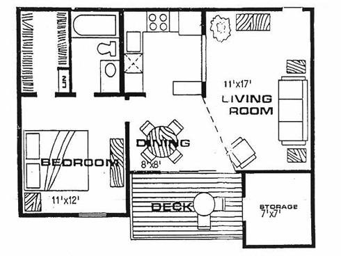 745 sq. ft. A1 floor plan