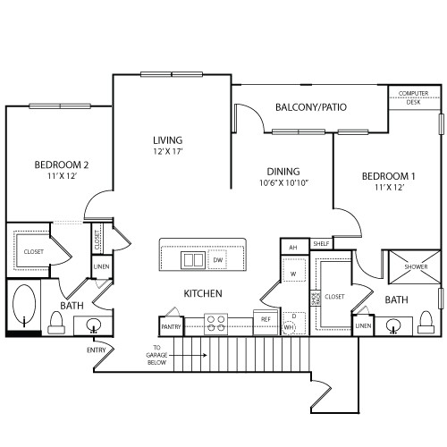 1,306 sq. ft. RIVIERA floor plan
