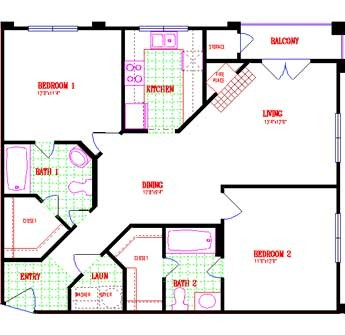 978 sq. ft. floor plan