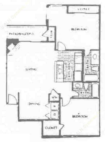 976 sq. ft. D floor plan