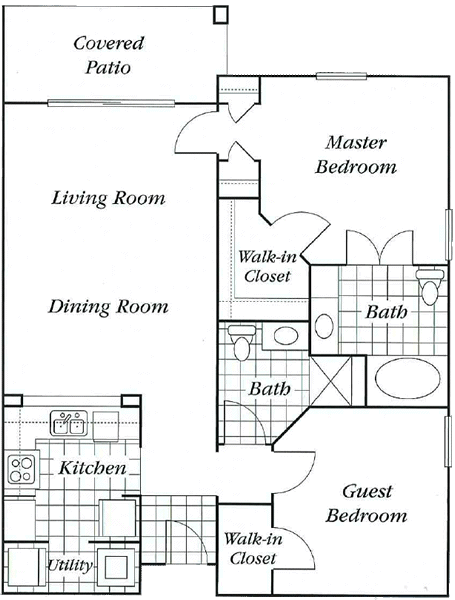 1,012 sq. ft. Deluxe Mkt floor plan