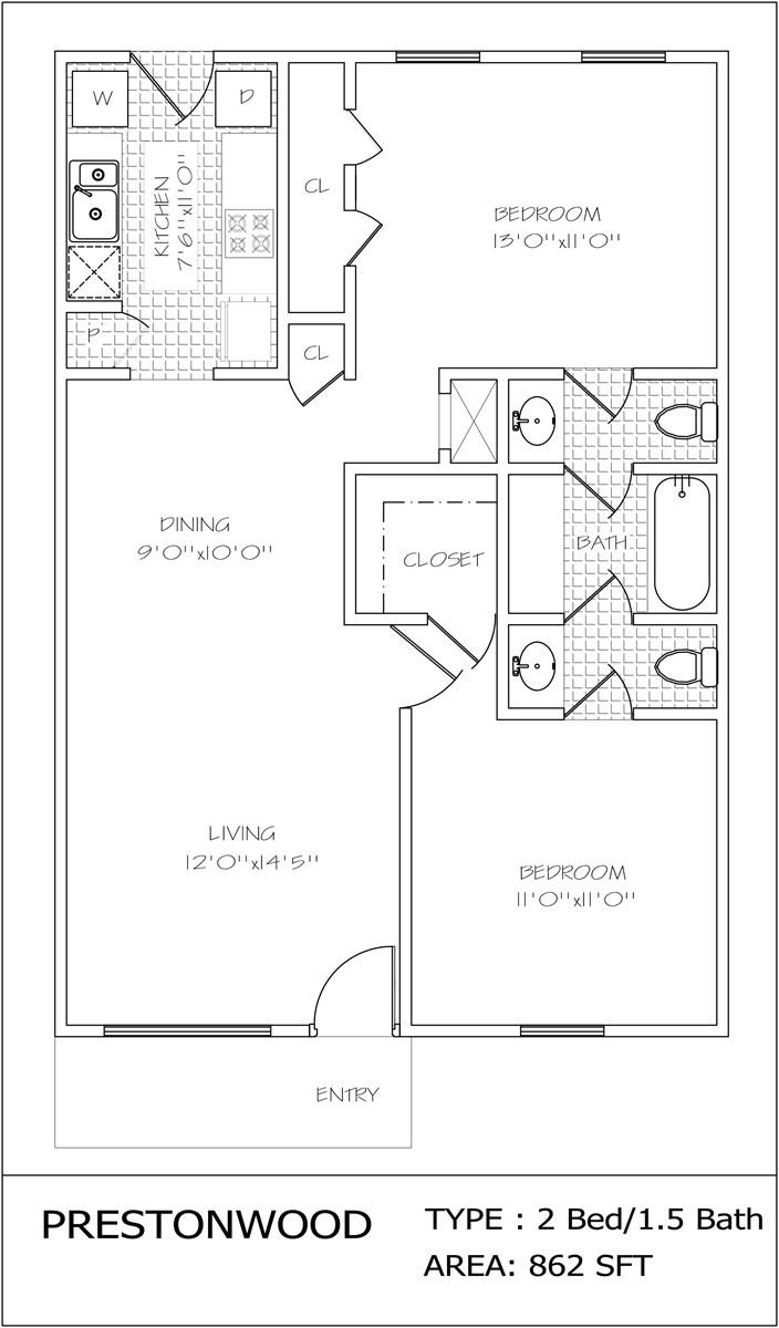 862 sq. ft. floor plan