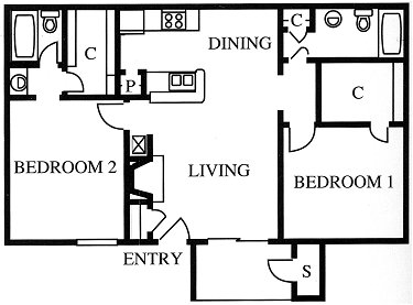 930 sq. ft. B1R floor plan